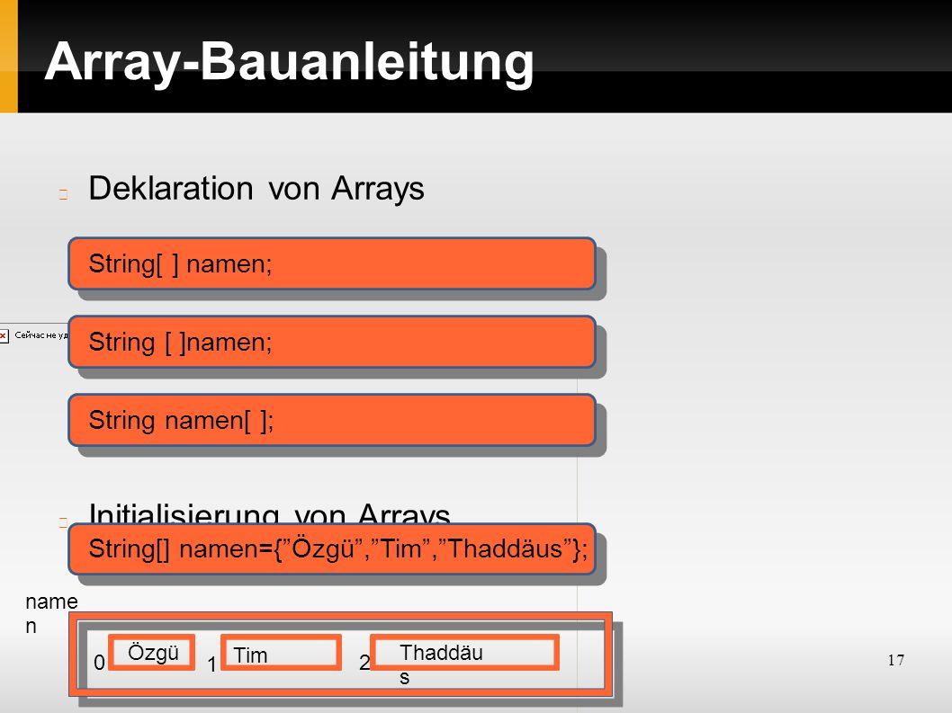17 Array-Bauanleitung Deklaration von Arrays Initialisierung von Arrays String[ ] namen; String namen[ ]; String[] namen={ Özgü , Tim , Thaddäus }; name n Tim ÖzgüThaddäu s 0 1 2