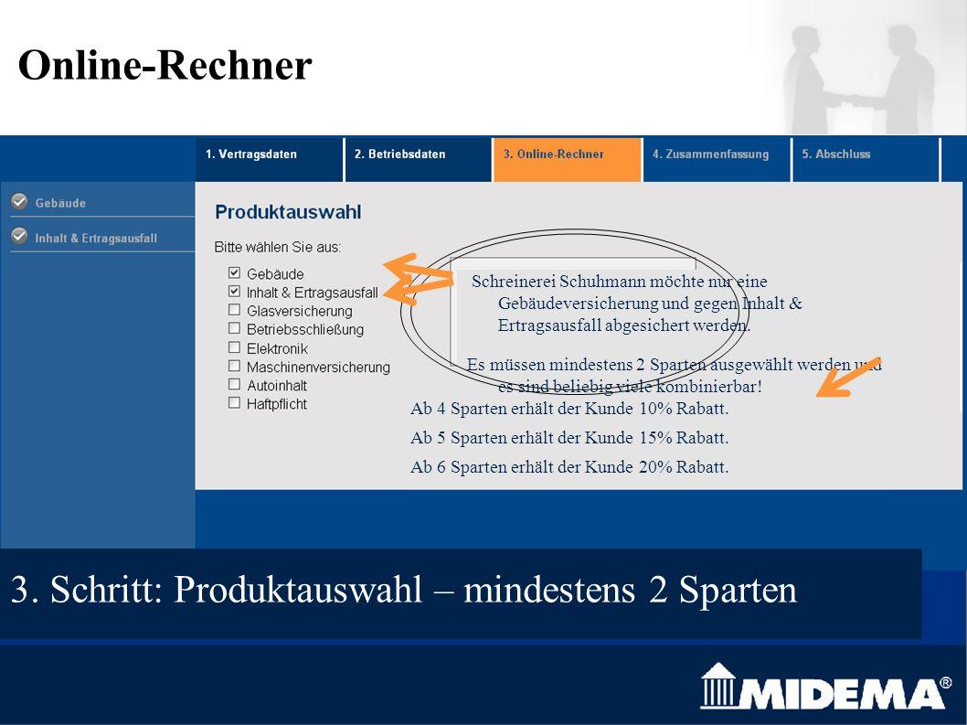 Schreinerei Schuhmann möchte nur eine Gebäudeversicherung und gegen Inhalt & Ertragsausfall abgesichert werden.