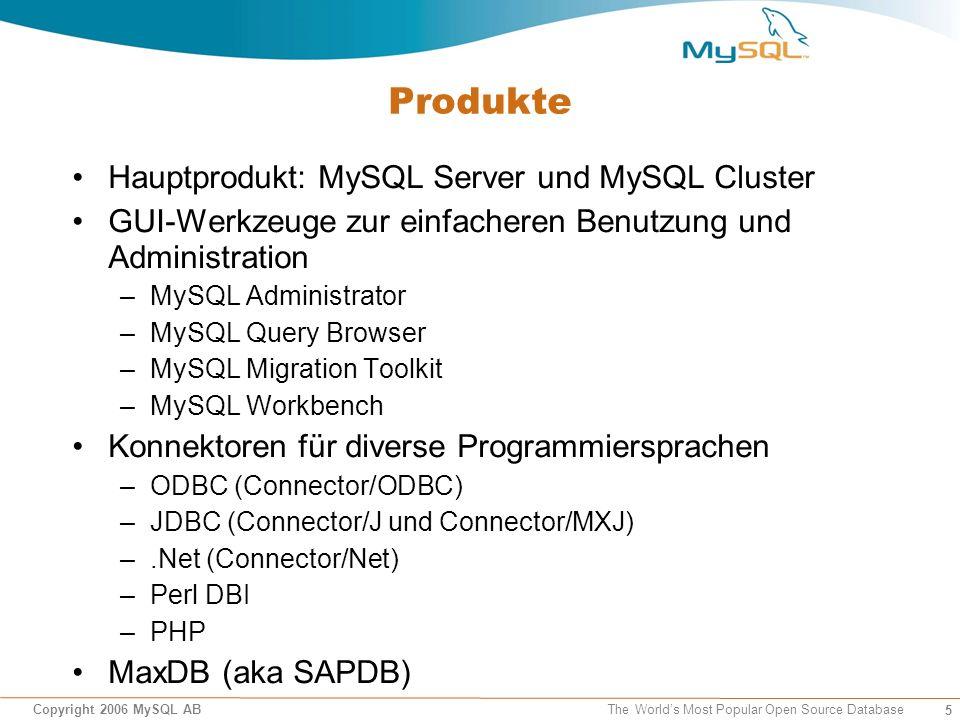 6 Copyright 2006 MySQL AB The World's Most Popular Open Source Database MySQL und Community Alle Produkte sind als Open Source frei verfügbar Fester Bestandteil unzähliger Linux-Distributionen und anderer OSS-Betriebssysteme MySQL stellt den überwiegenden Teil der Entwicklung Anwender haben direkten Zugriff auf die Quellen und aktuellste Releases MySQL stellt Infrastruktur für die Interaktion mit der Community (Mailinglisten, Foren, Blogs, Bug-DB) Teilnahme an OSS-Konferenzen und Messen (z.B.