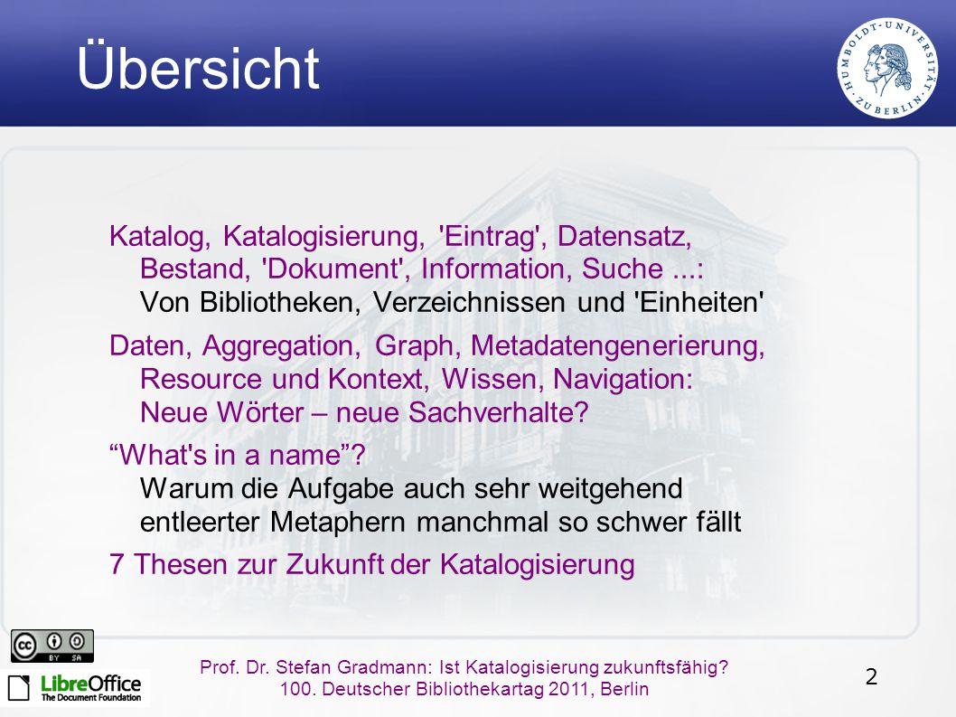 2 Prof. Dr. Stefan Gradmann: Ist Katalogisierung zukunftsfähig.