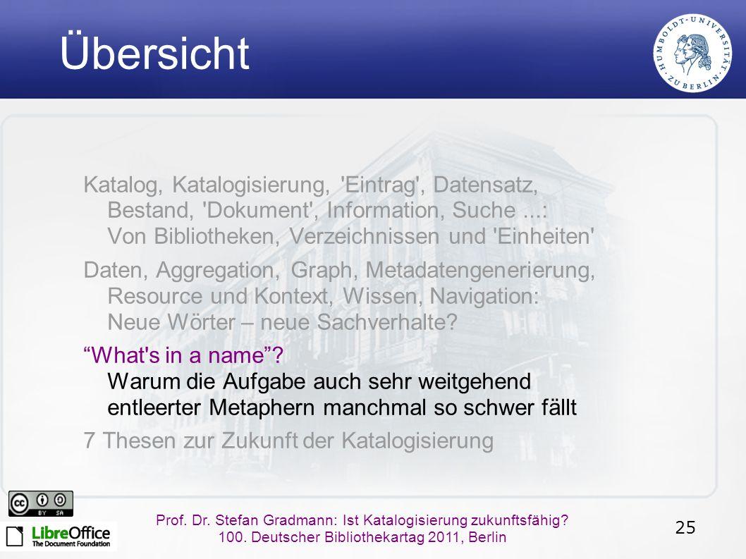 25 Prof. Dr. Stefan Gradmann: Ist Katalogisierung zukunftsfähig.