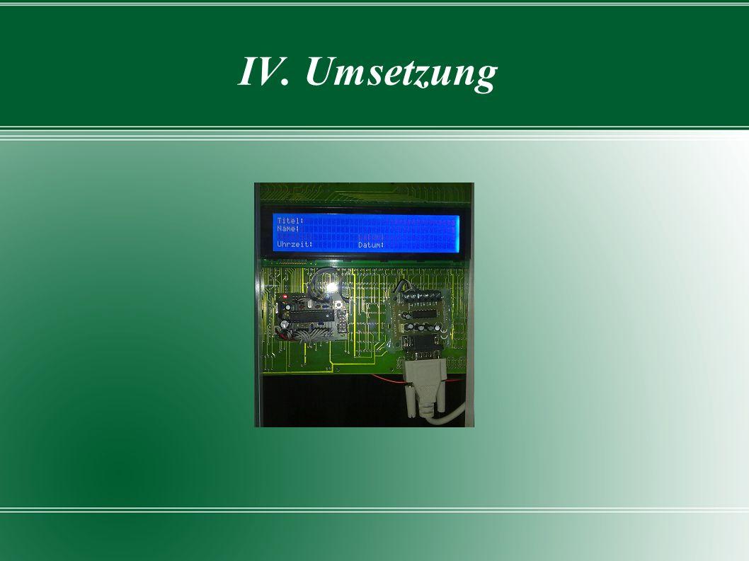 IV. Umsetzung