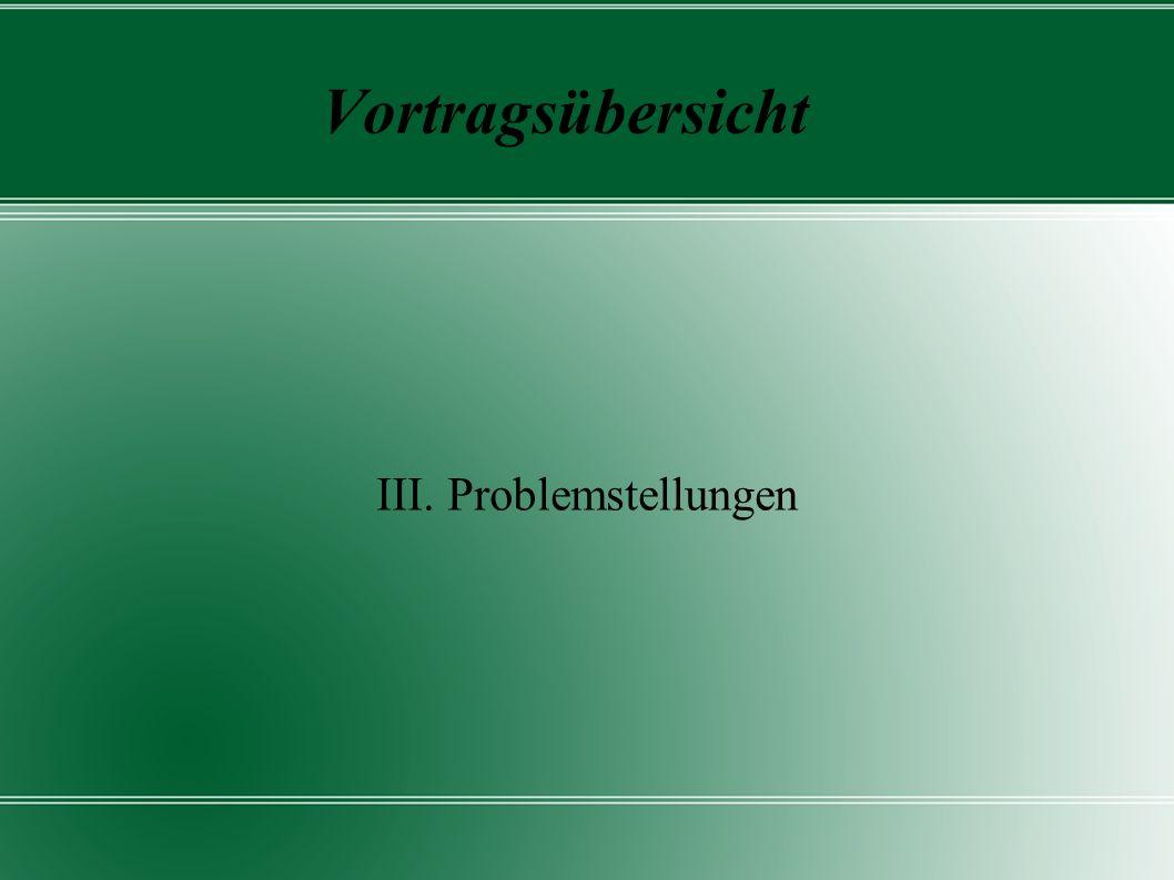 Vortragsübersicht III. Problemstellungen