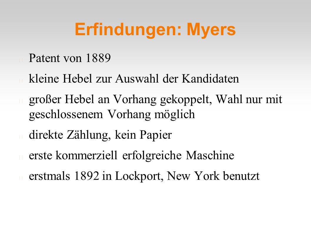Erfindungen: Myers Patent von 1889 kleine Hebel zur Auswahl der Kandidaten großer Hebel an Vorhang gekoppelt, Wahl nur mit geschlossenem Vorhang möglich direkte Zählung, kein Papier erste kommerziell erfolgreiche Maschine erstmals 1892 in Lockport, New York benutzt