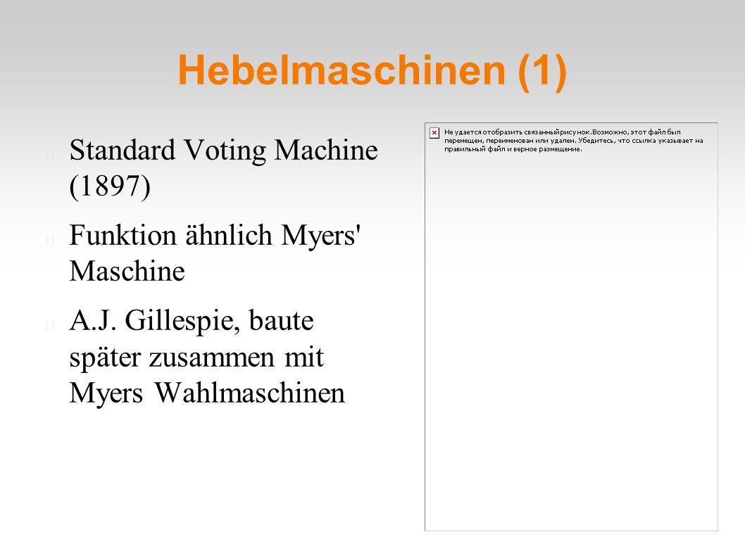 Hebelmaschinen (1) Standard Voting Machine (1897) Funktion ähnlich Myers' Maschine A.J. Gillespie, baute später zusammen mit Myers Wahlmaschinen