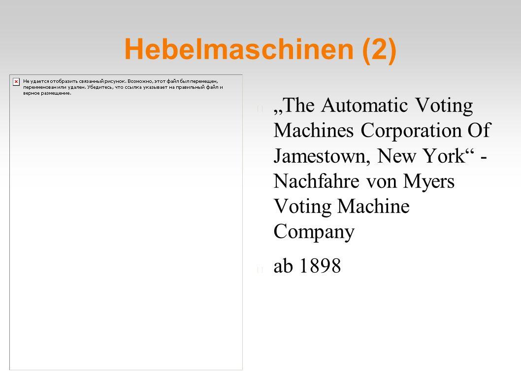 "Hebelmaschinen (2) ""The Automatic Voting Machines Corporation Of Jamestown, New York"" - Nachfahre von Myers Voting Machine Company ab 1898"