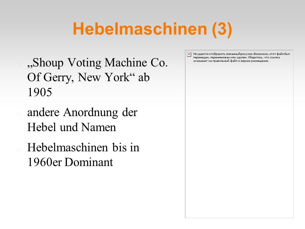 "Hebelmaschinen (3) ""Shoup Voting Machine Co. Of Gerry, New York"" ab 1905 andere Anordnung der Hebel und Namen Hebelmaschinen bis in 1960er Dominant"