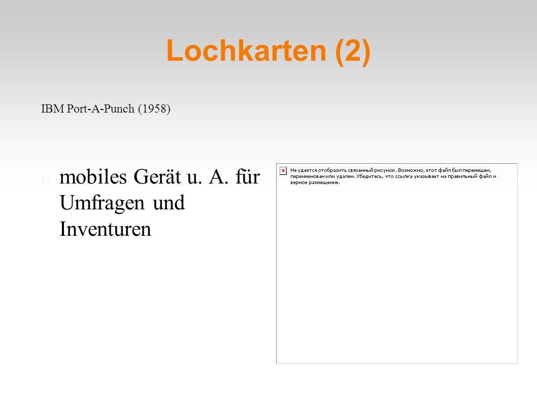Lochkarten (2) mobiles Gerät u. A. für Umfragen und Inventuren IBM Port-A-Punch (1958)