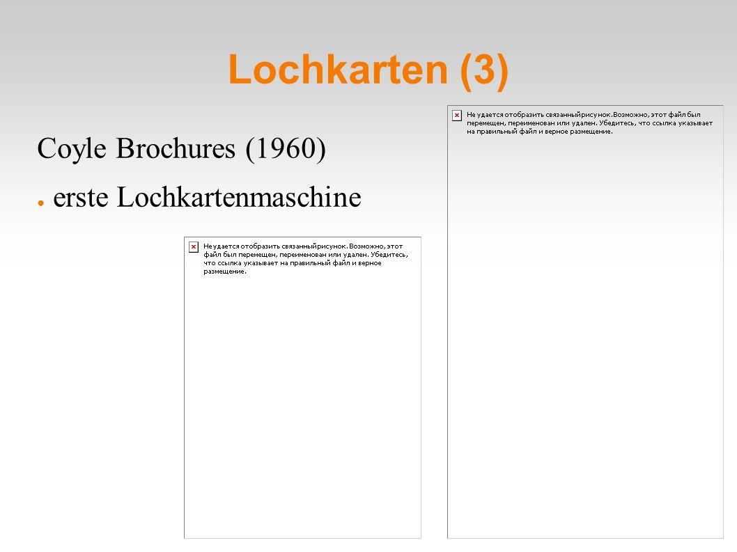 Lochkarten (3) Coyle Brochures (1960) ● erste Lochkartenmaschine