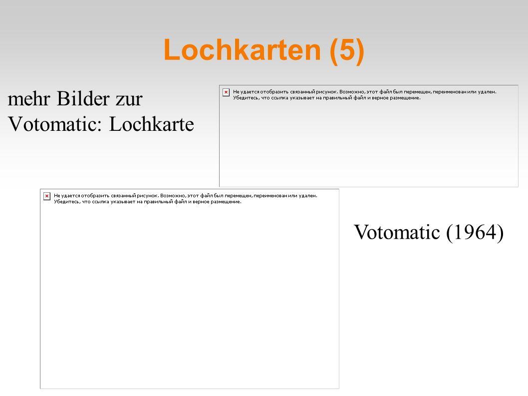 Lochkarten (5) mehr Bilder zur Votomatic: Lochkarte Votomatic (1964)