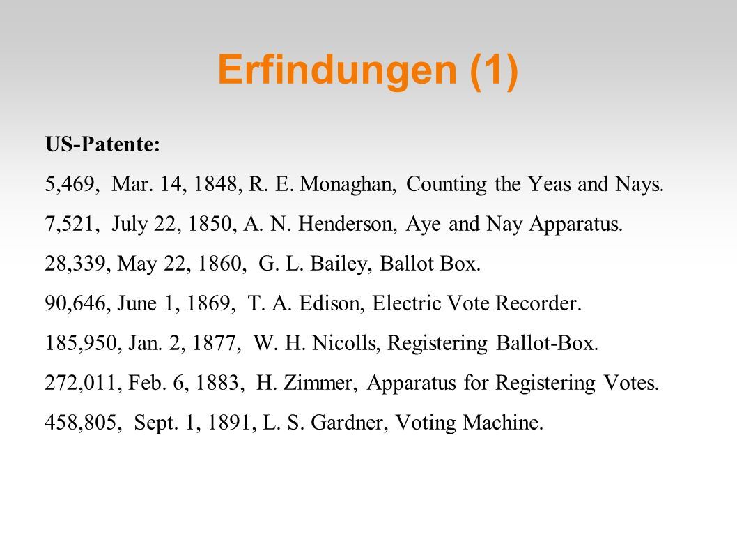 Erfindungen (1) US-Patente: 5,469, Mar. 14, 1848, R.