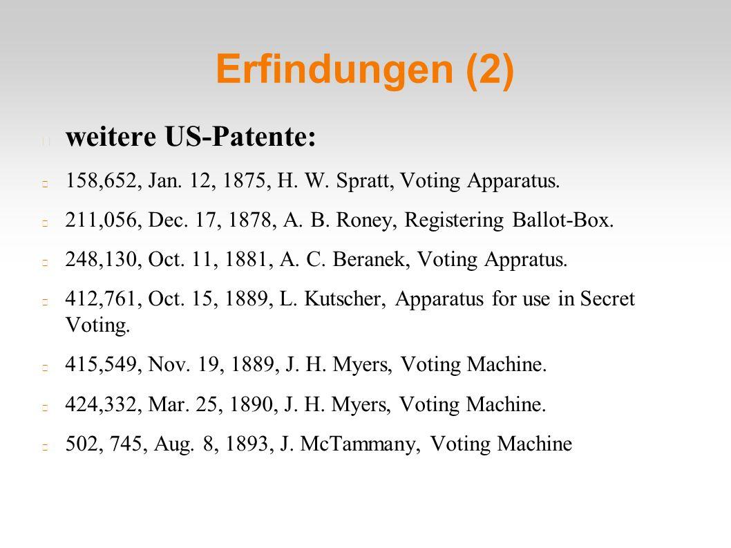 Erfindungen (2) weitere US-Patente: 158,652, Jan. 12, 1875, H. W. Spratt, Voting Apparatus. 211,056, Dec. 17, 1878, A. B. Roney, Registering Ballot-Bo