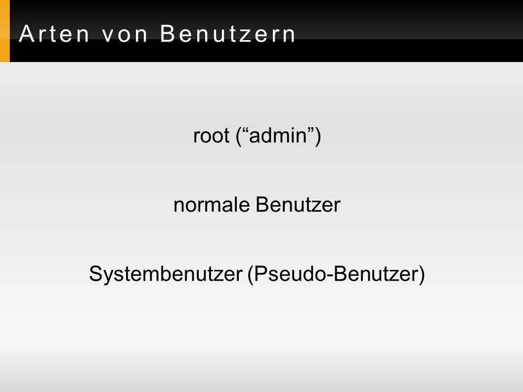 Dateien zur Speicherung der Benutzerinformationen Benutzer:/etc/passwd /etc/shadow Gruppen:/etc/group /etc/gshadow Passwörter werden generell nicht im Klartext gespeichert sondern als md5-Hash!