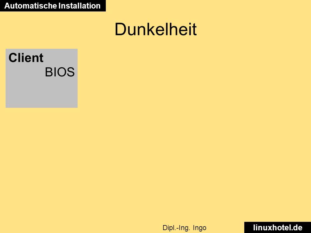 linuxhotel.de Dipl.-Ing. Ingo Wichmann Automatische Installation Client BIOS Dunkelheit