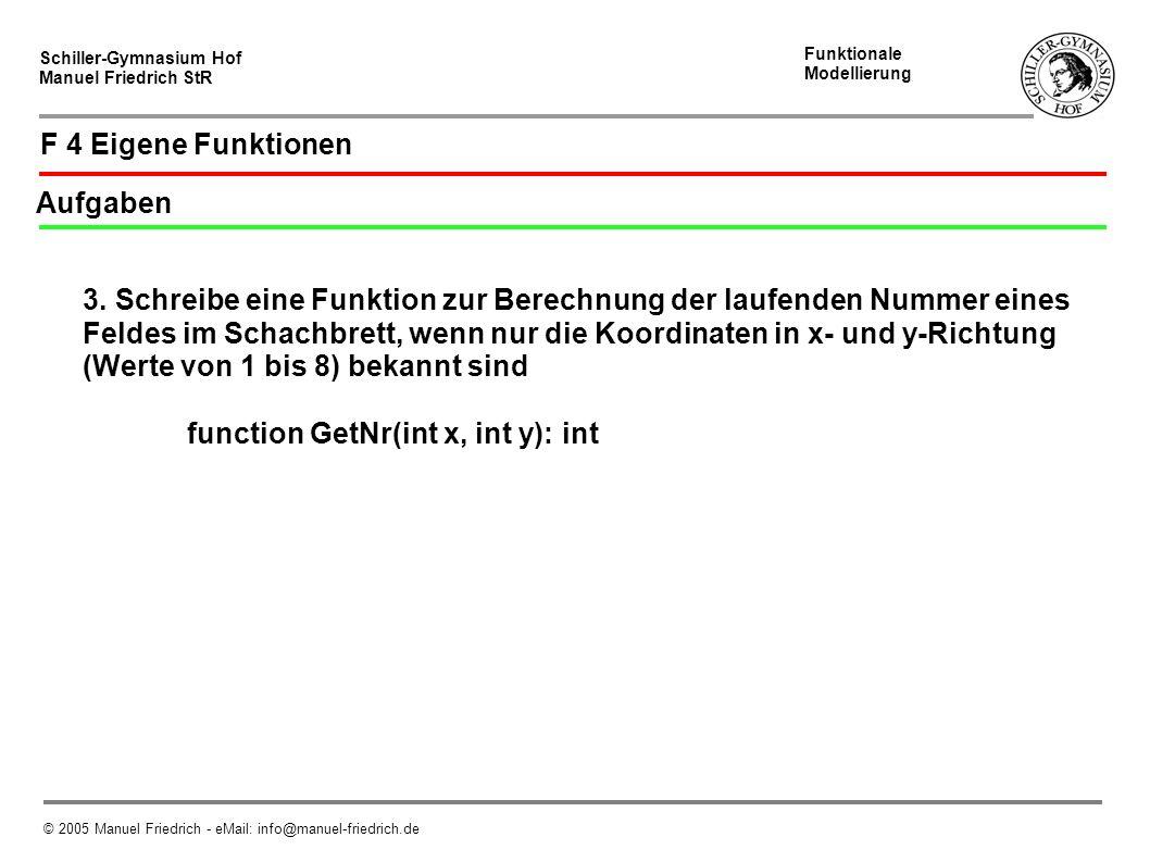 Schiller-Gymnasium Hof Manuel Friedrich StR Funktionale Modellierung © 2005 Manuel Friedrich - eMail: info@manuel-friedrich.de F 4 Eigene Funktionen Aufgaben 3.