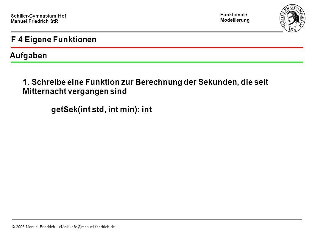 Schiller-Gymnasium Hof Manuel Friedrich StR Funktionale Modellierung © 2005 Manuel Friedrich - eMail: info@manuel-friedrich.de F 4 Eigene Funktionen Aufgaben 1.