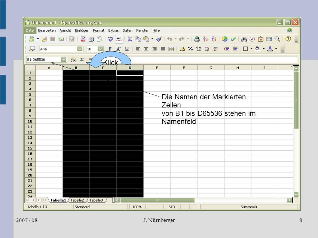 J. Nürnberger2007 / 088 Markieren von Spalten ● Anklicken von einer oder mehreren Spalten im Spaltenkopf Die Namen der Markierten Zellen von B1 bis D6