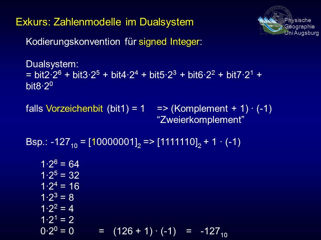 Physische Geographie Uni Augsburg Kodierungskonvention für signed Integer: Dualsystem: = bit2·2 6 + bit3·2 5 + bit4·2 4 + bit5·2 3 + bit6·2 2 + bit7·2 1 + bit8·2 0 falls Vorzeichenbit (bit1) = 1 => (Komplement + 1) · (-1) Zweierkomplement Bsp.: -127 10 = [10000001] 2 => [1111110] 2 + 1 · (-1) 1·2 6 = 64 1·2 5 = 32 1·2 4 = 16 1·2 3 = 8 1·2 2 = 4 1·2 1 = 2 0·2 0 = 0= (126 + 1) · (-1) = -127 10 Exkurs: Zahlenmodelle im Dualsystem