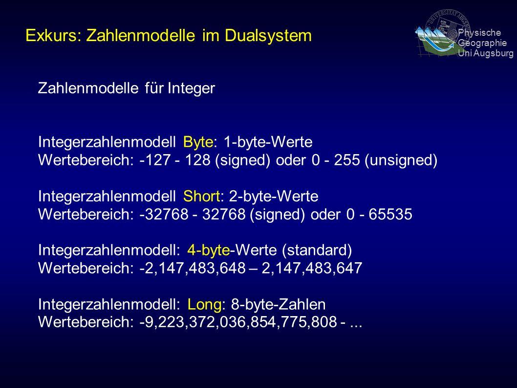 Physische Geographie Uni Augsburg Zahlenmodelle für Integer Integerzahlenmodell Byte: 1-byte-Werte Wertebereich: -127 - 128 (signed) oder 0 - 255 (unsigned) Integerzahlenmodell Short: 2-byte-Werte Wertebereich: -32768 - 32768 (signed) oder 0 - 65535 Integerzahlenmodell: 4-byte-Werte (standard) Wertebereich: -2,147,483,648 – 2,147,483,647 Integerzahlenmodell: Long: 8-byte-Zahlen Wertebereich: -9,223,372,036,854,775,808 -...