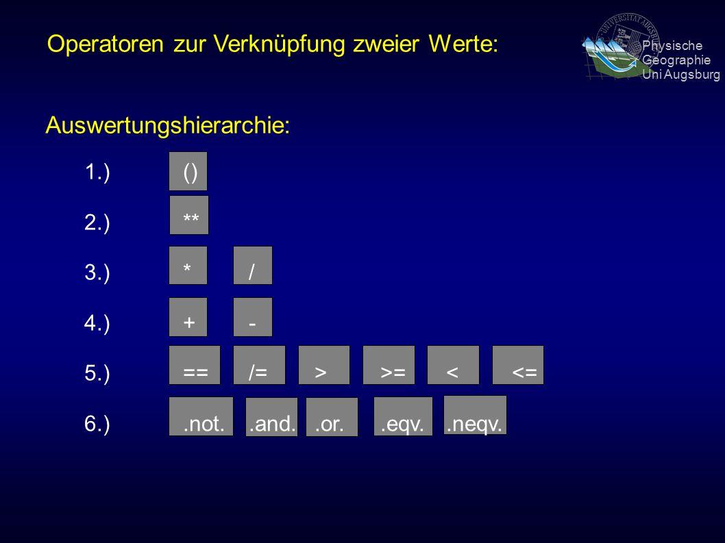 Physische Geographie Uni Augsburg Operatoren zur Verknüpfung zweier Werte: Auswertungshierarchie: 1.) () 2.)** 3.) */ 4.)+- 5.)== /=>>=<<= 6.).not..and..or..eqv..neqv.