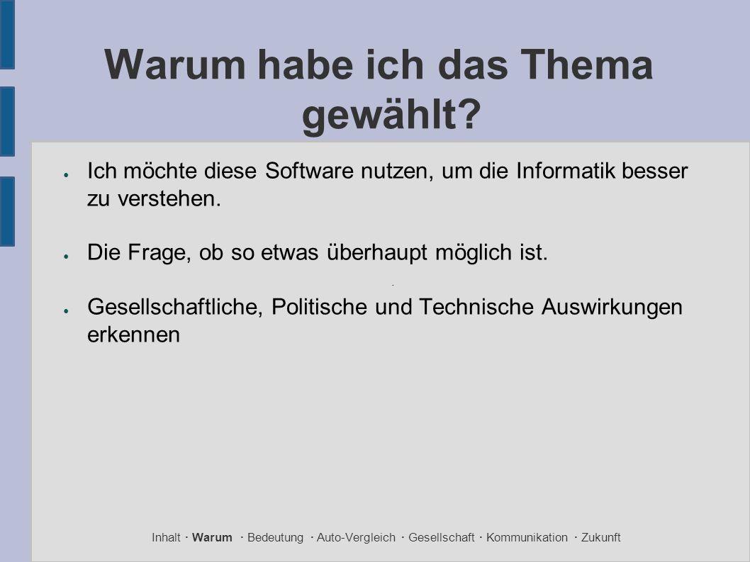 Warum habe ich das Thema gewählt? ● Ich möchte diese Software nutzen, um die Informatik besser zu verstehen. ● Die Frage, ob so etwas überhaupt möglic