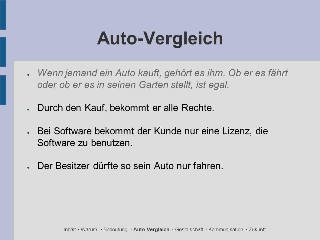Auto-Vergleich ● Wenn jemand ein Auto kauft, gehört es ihm.