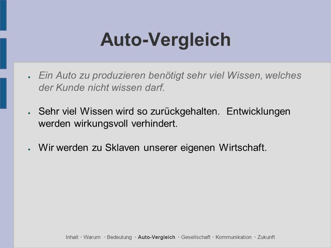 Auto-Vergleich ● Ein Auto zu produzieren benötigt sehr viel Wissen, welches der Kunde nicht wissen darf. ● Sehr viel Wissen wird so zurückgehalten. En