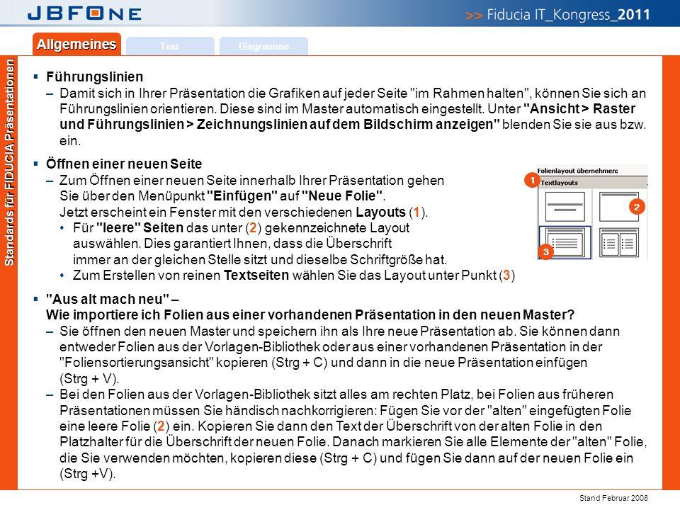 Titel der Präsentation | Ihr Name | JBFOne 2011 | Seite 17 Copyright 2011 © Fiducia IT AG Text Allgemeines Diagramme Standards für FIDUCIA Präsentatio