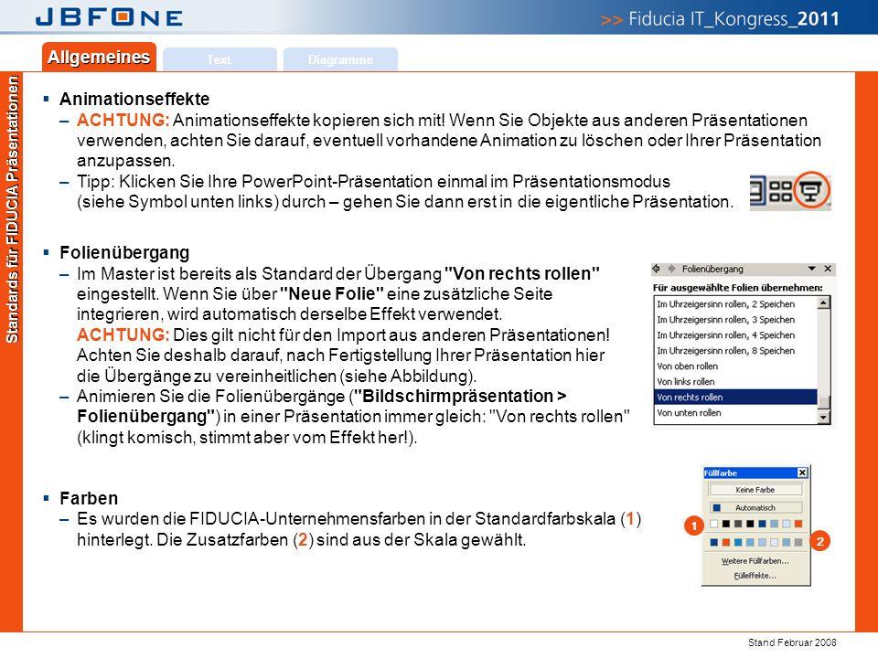 Titel der Präsentation | Ihr Name | JBFOne 2011 | Seite 18 Copyright 2011 © Fiducia IT AG Text Allgemeines Diagramme Standards für FIDUCIA Präsentationen  Animationseffekte –ACHTUNG: Animationseffekte kopieren sich mit.