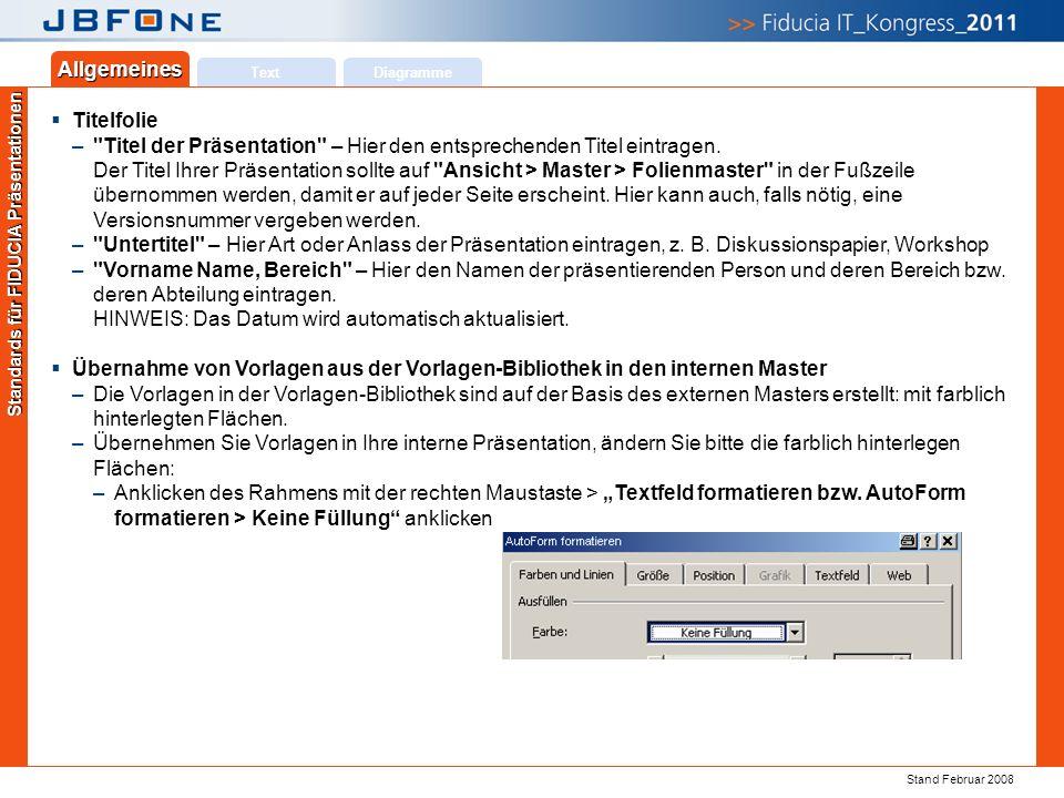 Titel der Präsentation | Ihr Name | JBFOne 2011 | Seite 19 Copyright 2011 © Fiducia IT AG Text Allgemeines Diagramme Standards für FIDUCIA Präsentatio