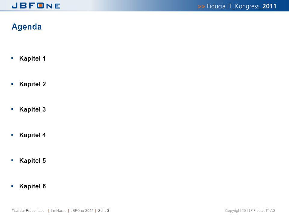 Titel der Präsentation | Ihr Name | JBFOne 2011 | Seite 3 Copyright 2011 © Fiducia IT AG Agenda  Kapitel 1  Kapitel 2  Kapitel 3  Kapitel 4  Kapi