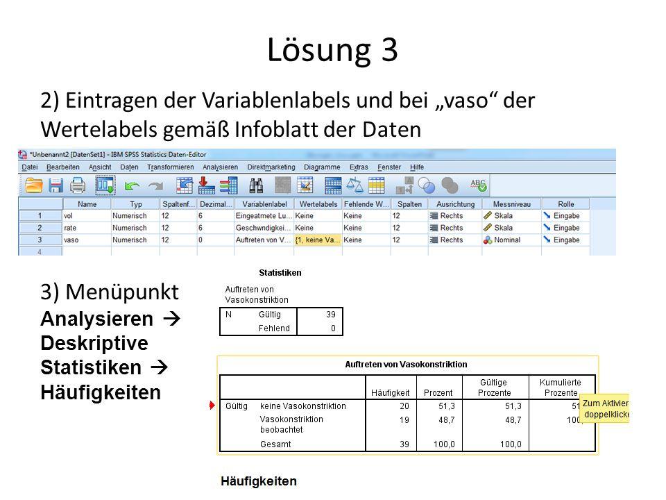 """Lösung 3 2) Eintragen der Variablenlabels und bei """"vaso"""" der Wertelabels gemäß Infoblatt der Daten 3) Menüpunkt Analysieren  Deskriptive Statistiken"""