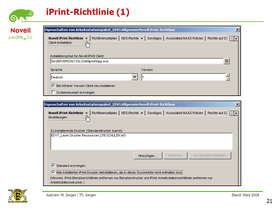 Stand: März 2008 21 Autoren: M. Geiger / Th. Geiger iPrint-Richtlinie (1)