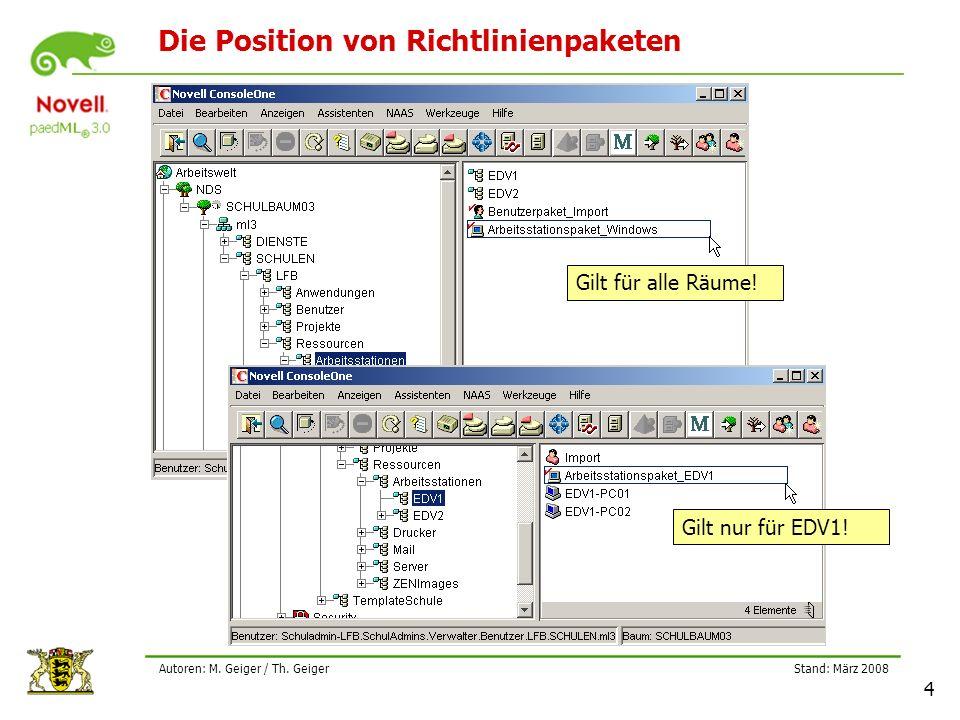 Stand: März 2008 4 Autoren: M. Geiger / Th. Geiger Die Position von Richtlinienpaketen Gilt für alle Räume! Gilt nur für EDV1!