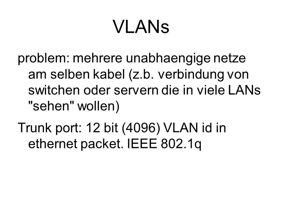 VLANs problem: mehrere unabhaengige netze am selben kabel (z.b. verbindung von switchen oder servern die in viele LANs