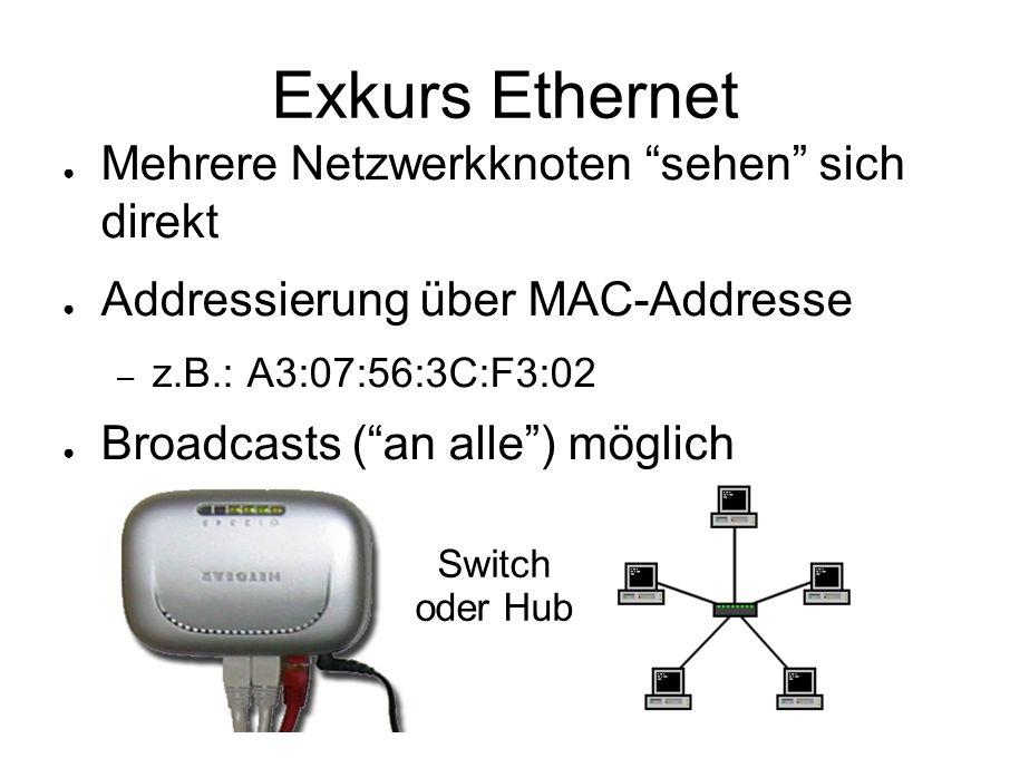 """Exkurs Ethernet ● Mehrere Netzwerkknoten """"sehen"""" sich direkt ● Addressierung über MAC-Addresse – z.B.: A3:07:56:3C:F3:02 ● Broadcasts (""""an alle"""") mögl"""