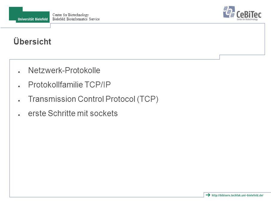 Center for Biotechnology Bielefeld Bioinformatics Service Verbindungsaufbau CLOSED LISTEN ESTABLISHE D SYN_RCVDSYN_SENT active open passive open SYN ACK SYN+ACK