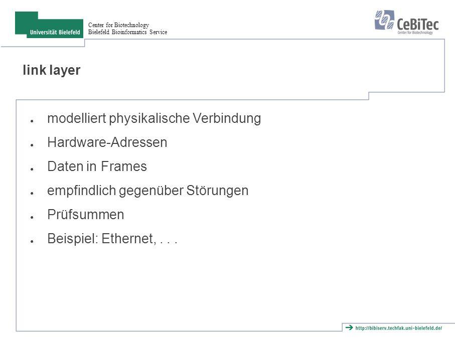 Center for Biotechnology Bielefeld Bioinformatics Service link layer ● modelliert physikalische Verbindung ● Hardware-Adressen ● Daten in Frames ● empfindlich gegenüber Störungen ● Prüfsummen ● Beispiel: Ethernet,...