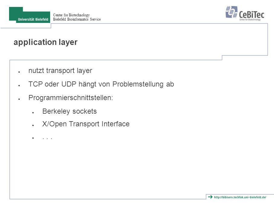 Center for Biotechnology Bielefeld Bioinformatics Service encapsulation Ethernet header IP header TCP header Applicatio n header User data Ethernet trailer