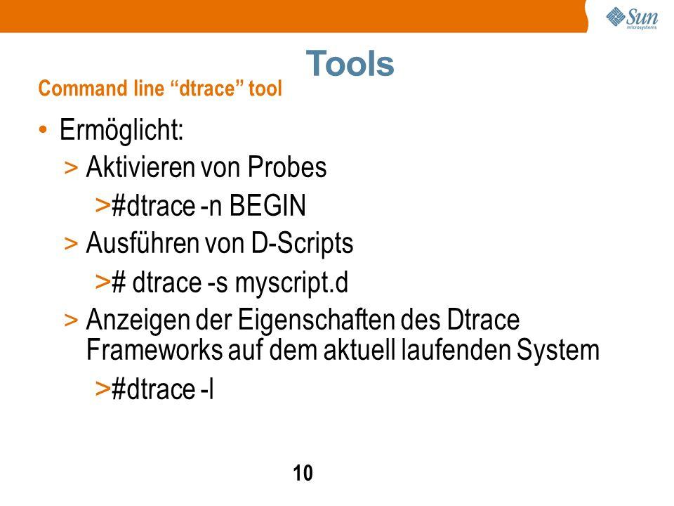 10 Ermöglicht: > Aktivieren von Probes > #dtrace -n BEGIN > Ausführen von D-Scripts > # dtrace -s myscript.d > Anzeigen der Eigenschaften des Dtrace Frameworks auf dem aktuell laufenden System > #dtrace -l Command line dtrace tool Tools