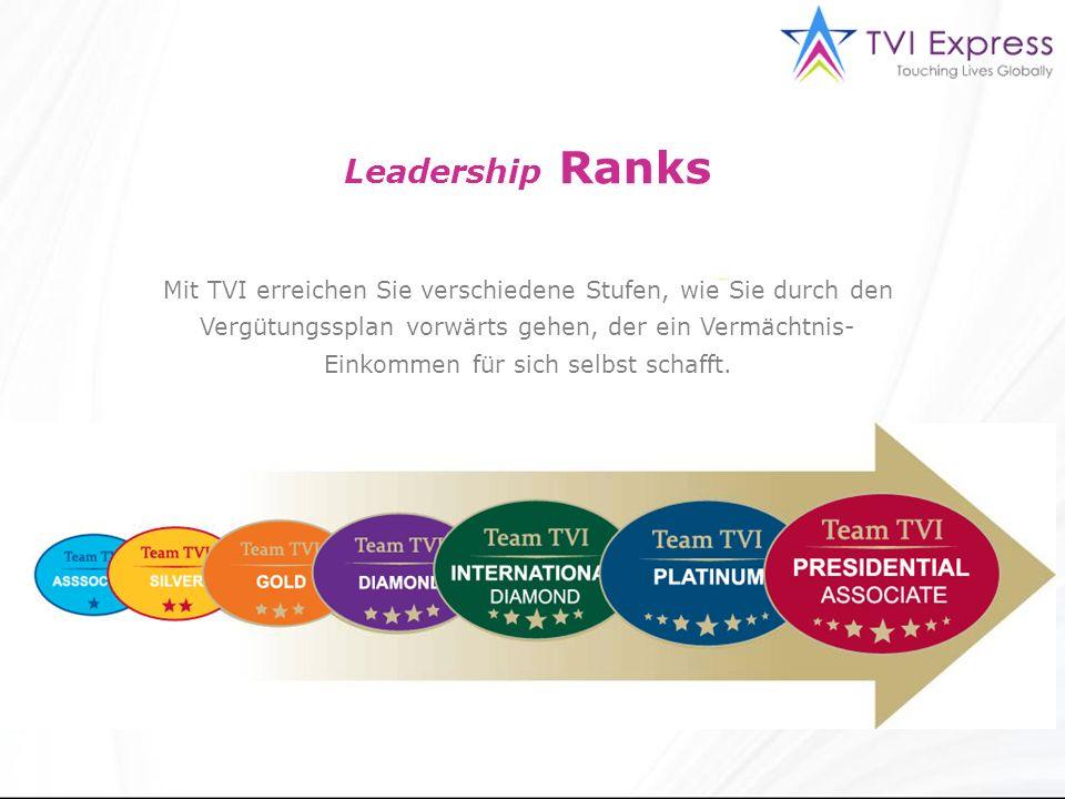 Leadership Ranks Mit TVI erreichen Sie verschiedene Stufen, wie Sie durch den Vergütungssplan vorwärts gehen, der ein Vermächtnis- Einkommen für sich selbst schafft.