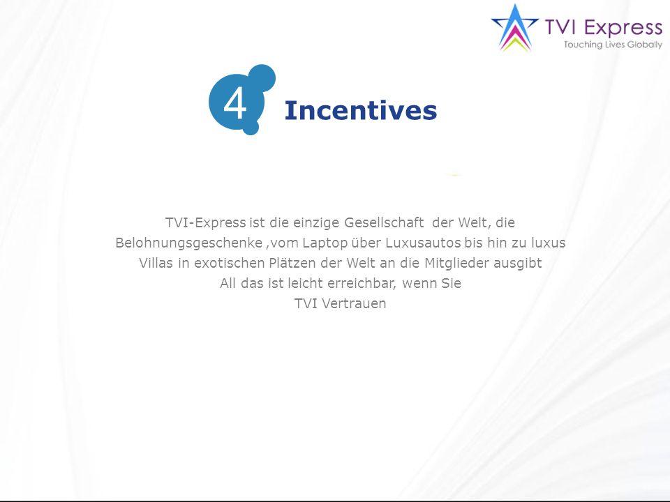 TVI-Express ist die einzige Gesellschaft der Welt, die Belohnungsgeschenke,vom Laptop über Luxusautos bis hin zu luxus Villas in exotischen Plätzen der Welt an die Mitglieder ausgibt All das ist leicht erreichbar, wenn Sie TVI Vertrauen Incentives 4