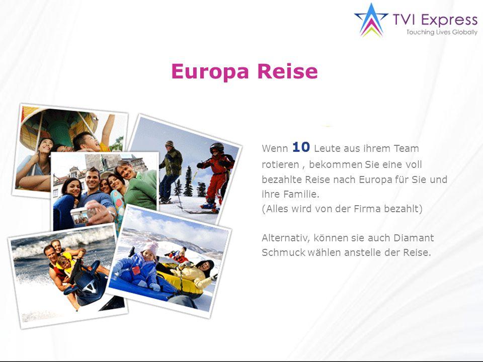Europa Reise Wenn 10 Leute aus ihrem Team rotieren, bekommen Sie eine voll bezahlte Reise nach Europa für Sie und ihre Familie.