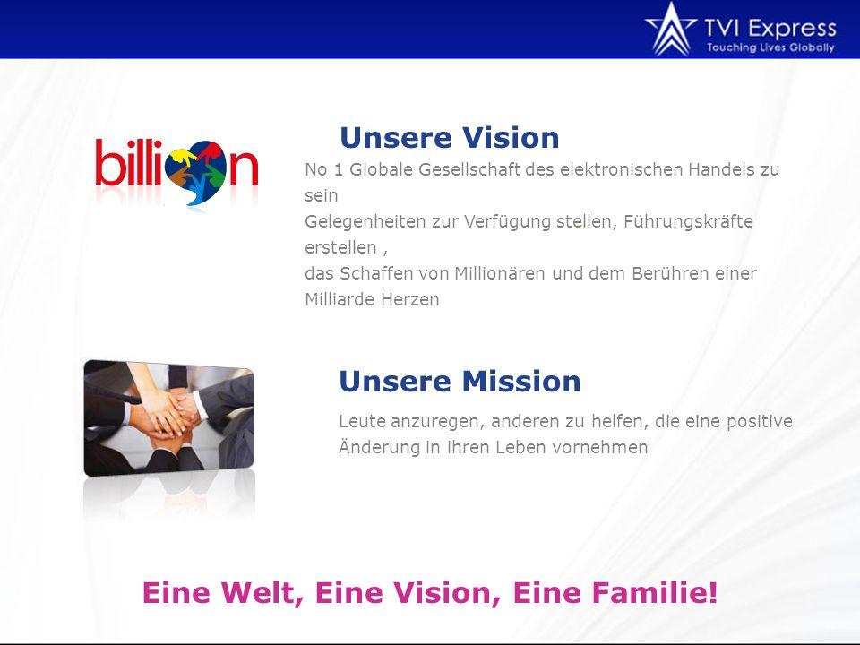 Leute anzuregen, anderen zu helfen, die eine positive Änderung in ihren Leben vornehmen Unsere Vision Eine Welt, Eine Vision, Eine Familie.