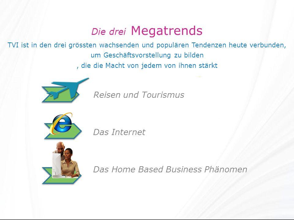 Die drei Megatrends TVI ist in den drei grössten wachsenden und populären Tendenzen heute verbunden, um Geschäftsvorstellung zu bilden, die die Macht von jedem von ihnen stärkt Reisen und Tourismus Das Internet Das Home Based Business Phänomen