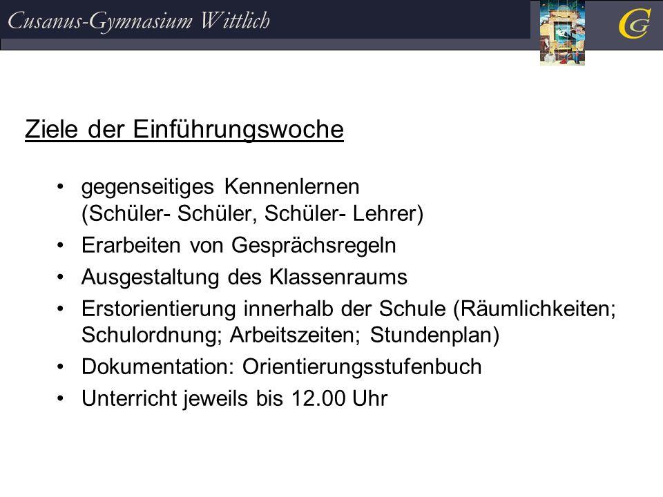 Cusanus-Gymnasium Wittlich Projekte ' Lernen lernen' Schwerpunkte der beiden Projektwochen Hausaufgaben / Klassenarbeiten Motivation / Konzentration