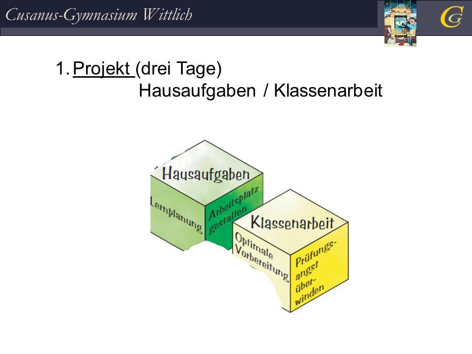 Cusanus-Gymnasium Wittlich 1.Projekt (drei Tage) Hausaufgaben / Klassenarbeit