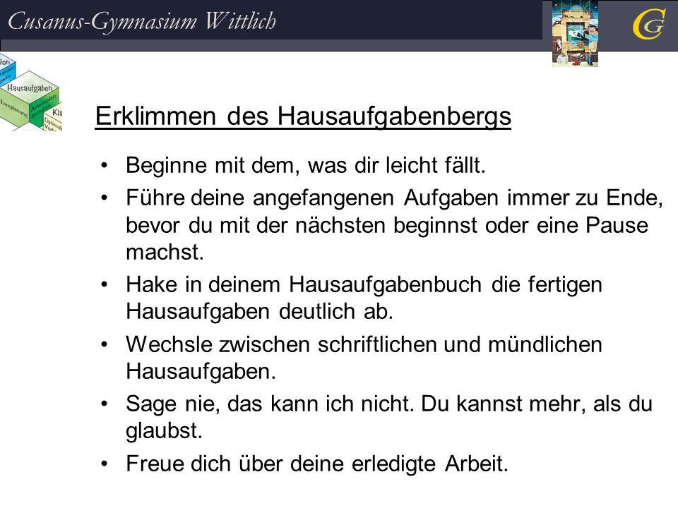Erklimmen des Hausaufgabenbergs Cusanus-Gymnasium Wittlich Beginne mit dem, was dir leicht fällt.