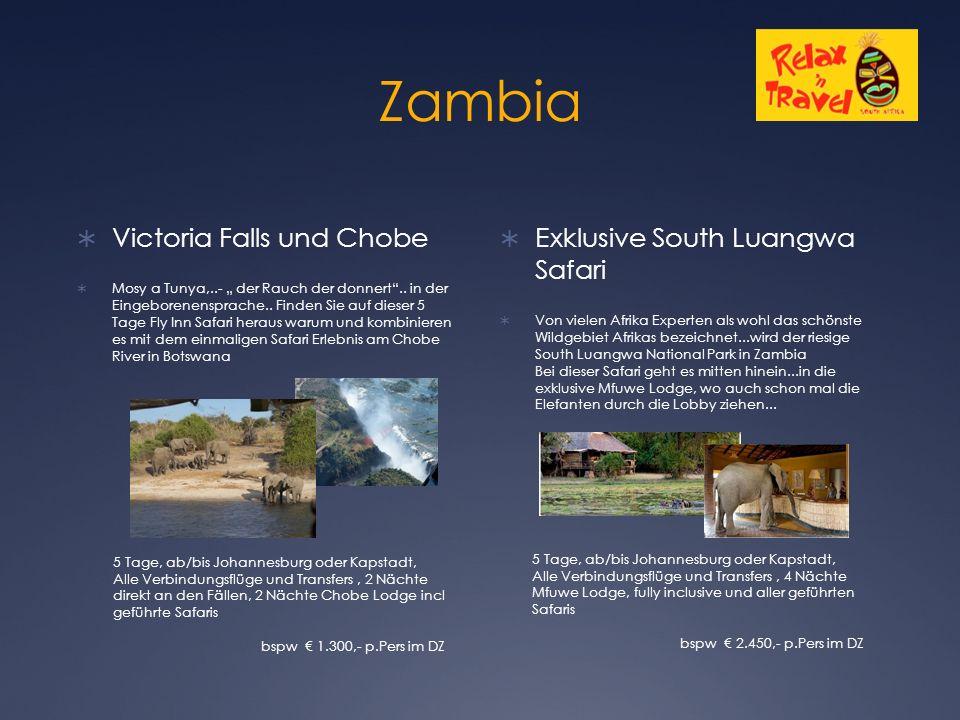 """Zambia  Victoria Falls und Chobe  Mosy a Tunya,..- """" der Rauch der donnert .."""