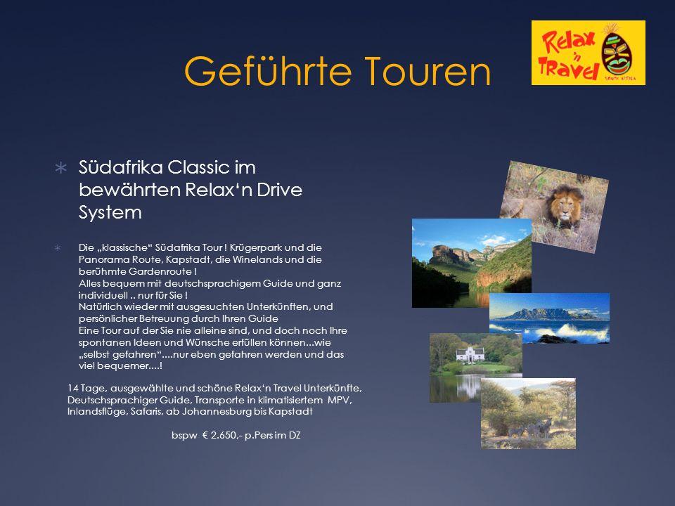 """Geführte Touren  Südafrika Classic im bewährten Relax'n Drive System  Die """"klassische Südafrika Tour ."""